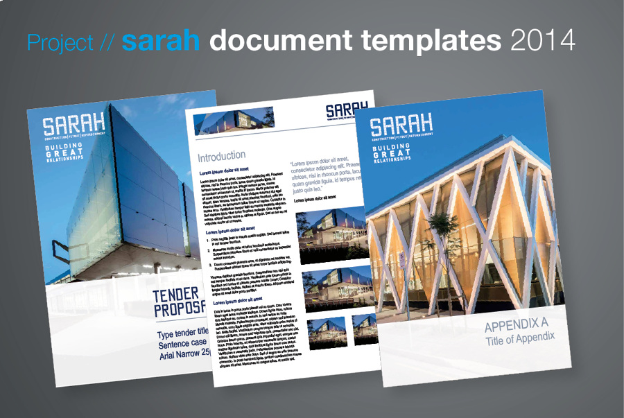 SARAH document templates - Anita Gibbs Graphic Design, Freelance - tender document template