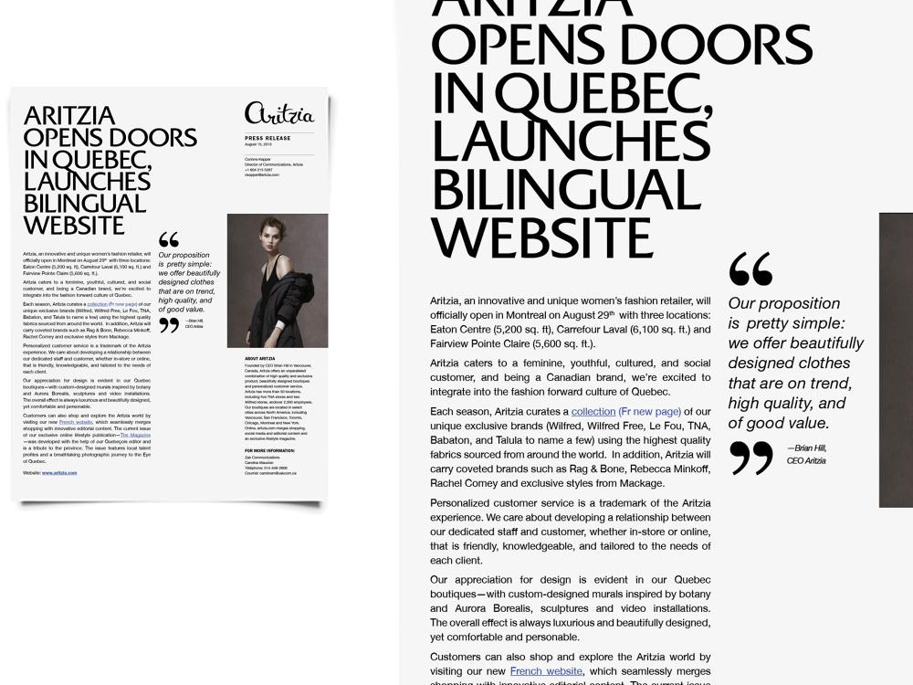 Aritzia Press Release Template - Jenny Kim Creative - press release template