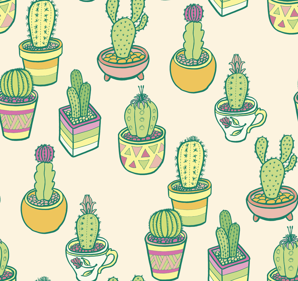 Cute Wallpaper Patterns Cactus Garden D2design Illustration