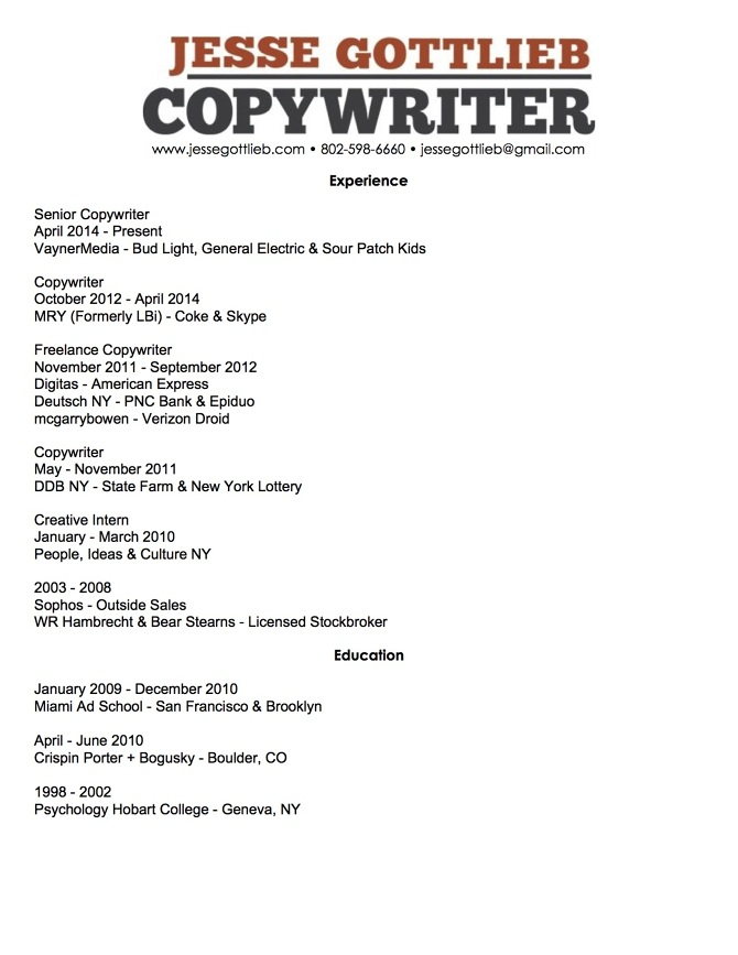 Resume - Jesse Gottlieb -- Copywriter - stock broker resume