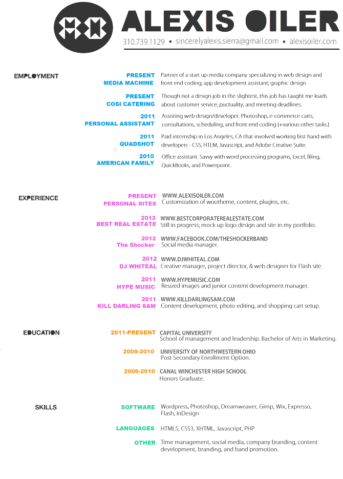 graphic design resume headers