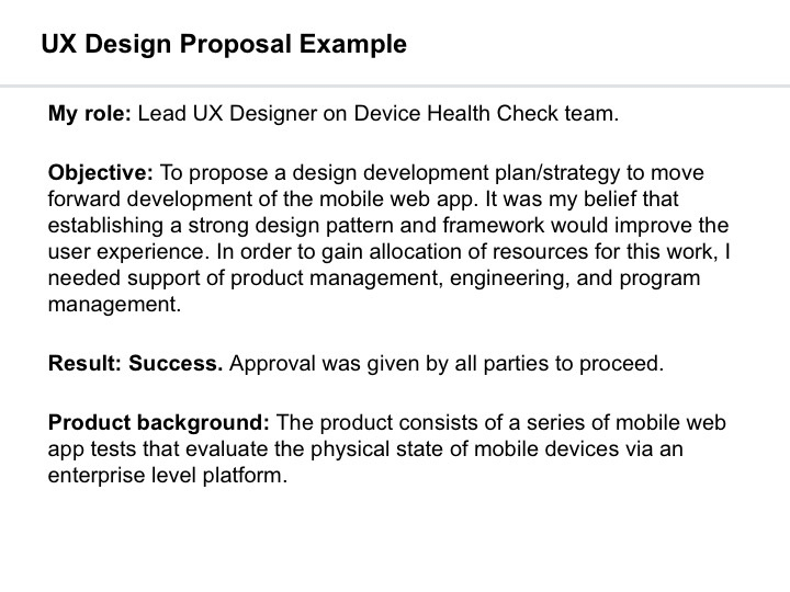 UX Design Proposal Example - ivatakesthecake