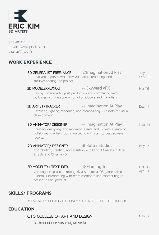 About Me (Resume) - Eric Kim