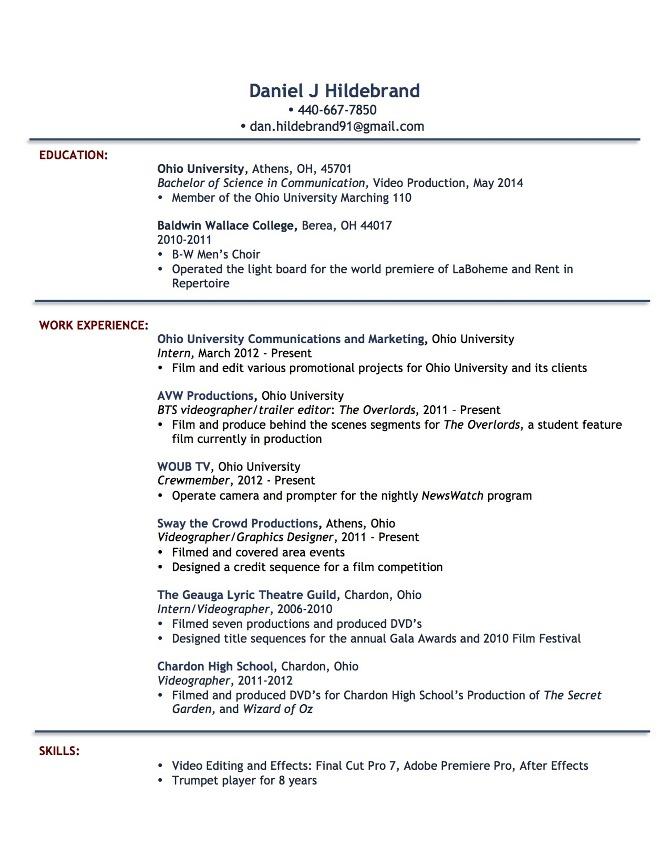 directorvideographereditor resume samples film television resume