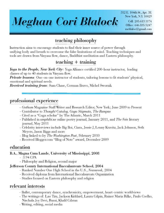 Resume Format For Yoga Teacher | Sample Customer Service Resume