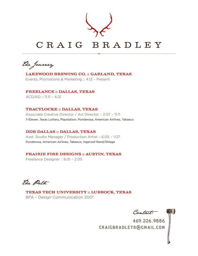 Resume - Craig Bradley  Art Director