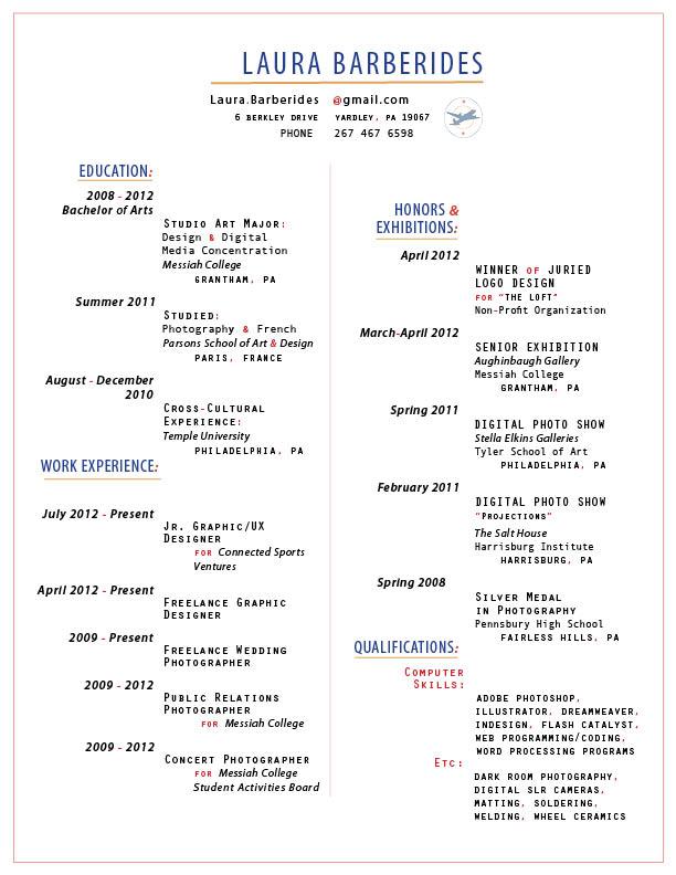 Résumé  Promotional Mailer - Laura Barberides - digital image processing resume