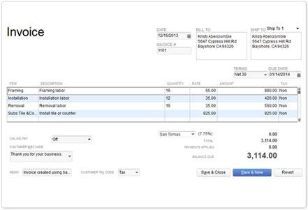 invoice template quickbooks online – neverage, Invoice examples