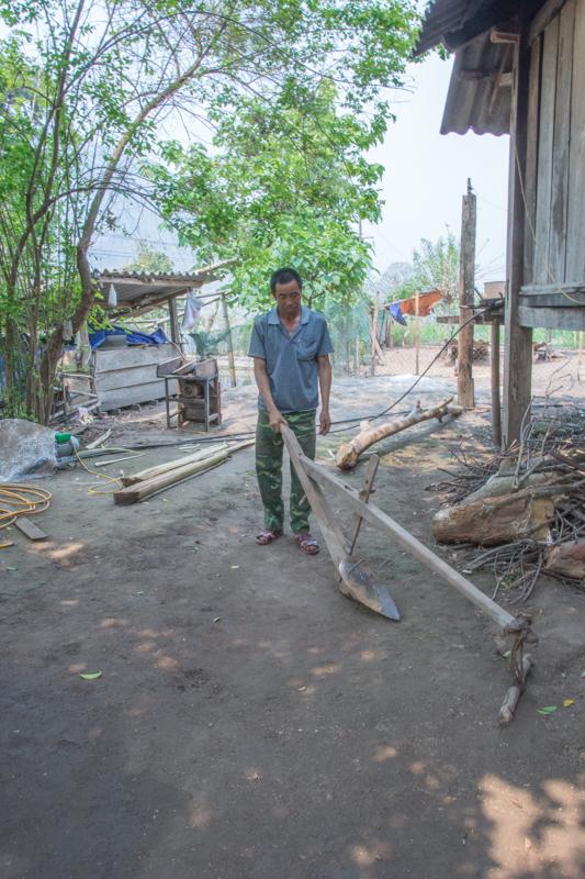 Un autre agriculteur me montre la charrue qu'ils utilisaient avant. Il l'a proposé de prendre la place du boeuf. J'ai gentillement décliné - http://paysansdavenir.com/lagriculture-de-conservation-au-secours-de-lagriculture-du-nord-du-vietnam/
