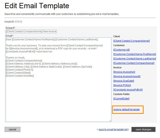 Viewing and Editing Email Templates