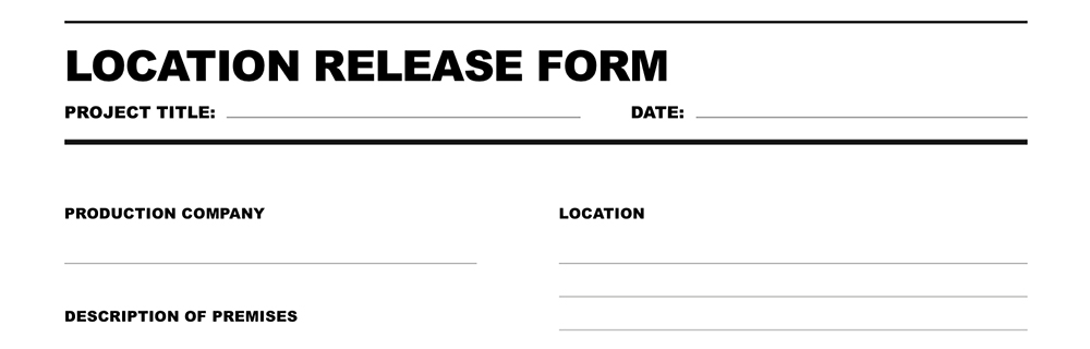Free Download Location Release Form - generic photo release form