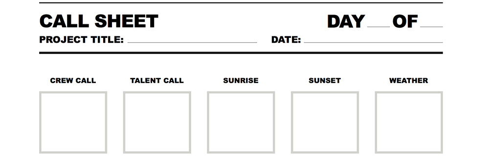 Free Call Sheet for Film and Video Projects - sheet template