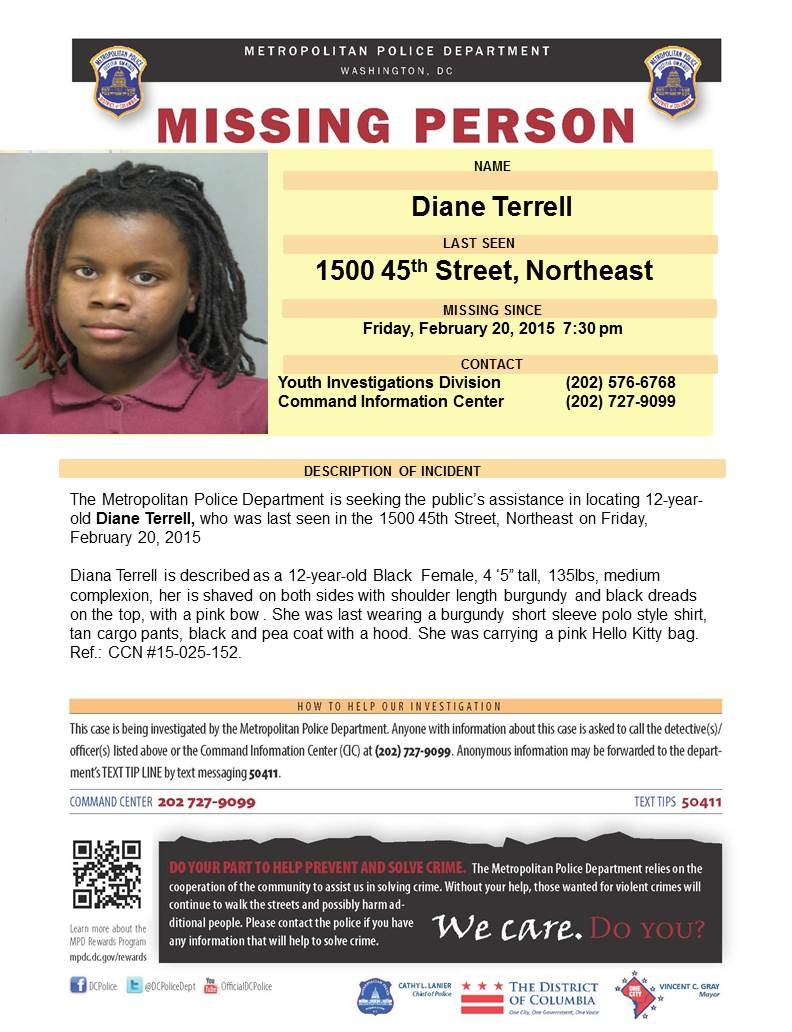Dc police needs your assistance in the locating missing person diane - missing person flyer