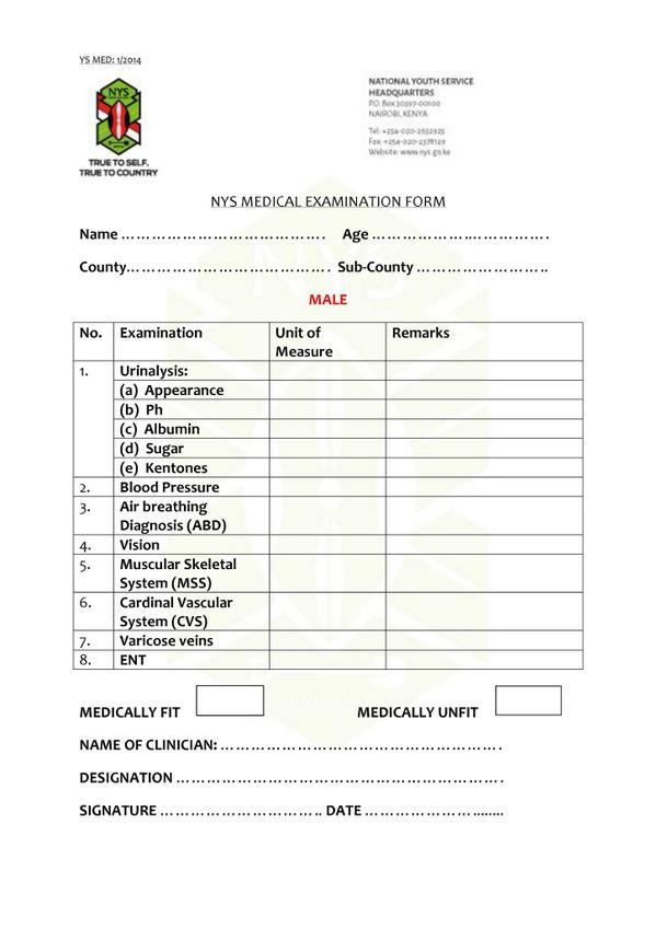 NYS Kenya on Twitter \ - medical forms