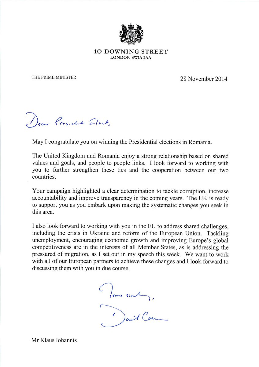 UK Embassy Bucharest on Twitter  - congratulations letter