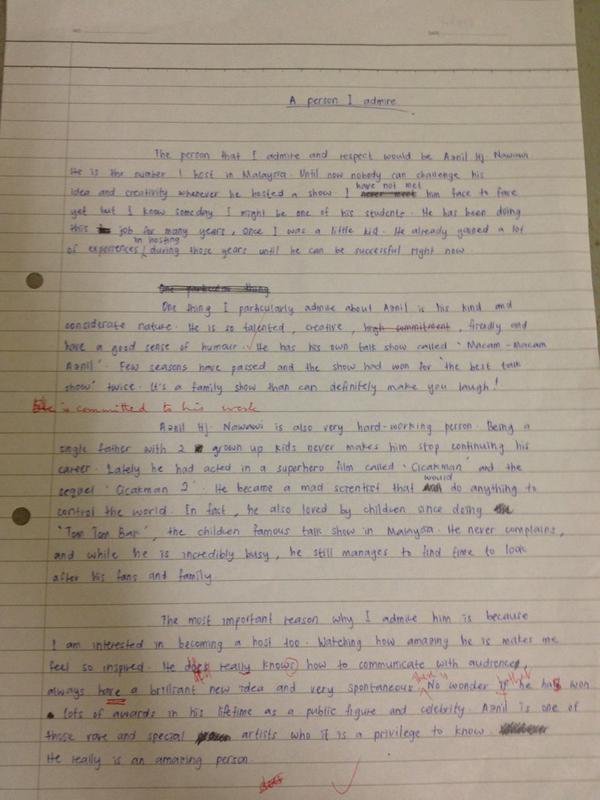 Descriptive essay about a person you admire spm Research paper - people i admire essay