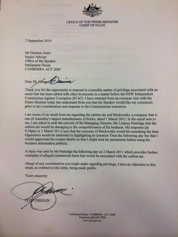 Letter from pm abbott\u0027s cos peta credlin says she has \u0027no objection