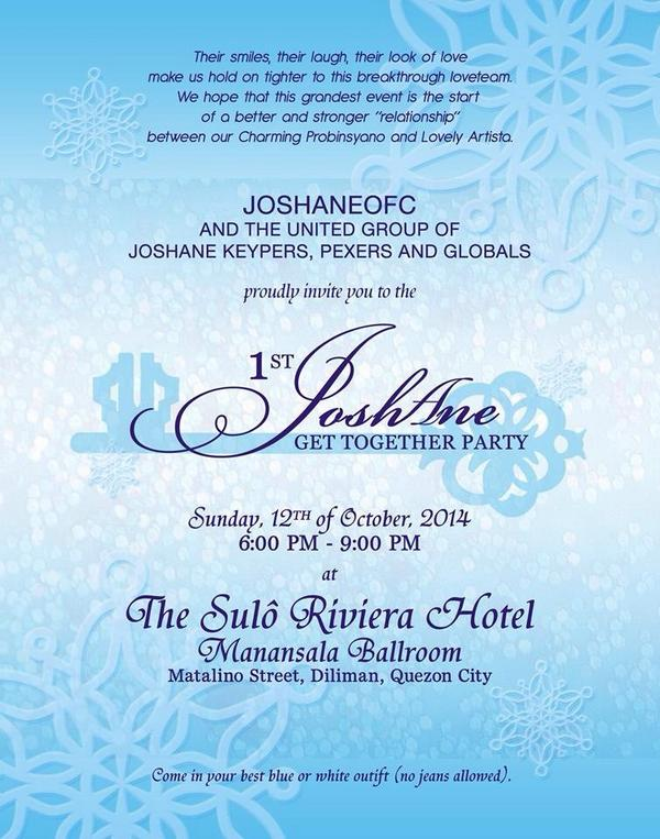JOSHANE OFC on Twitter \ - invitation for a get together