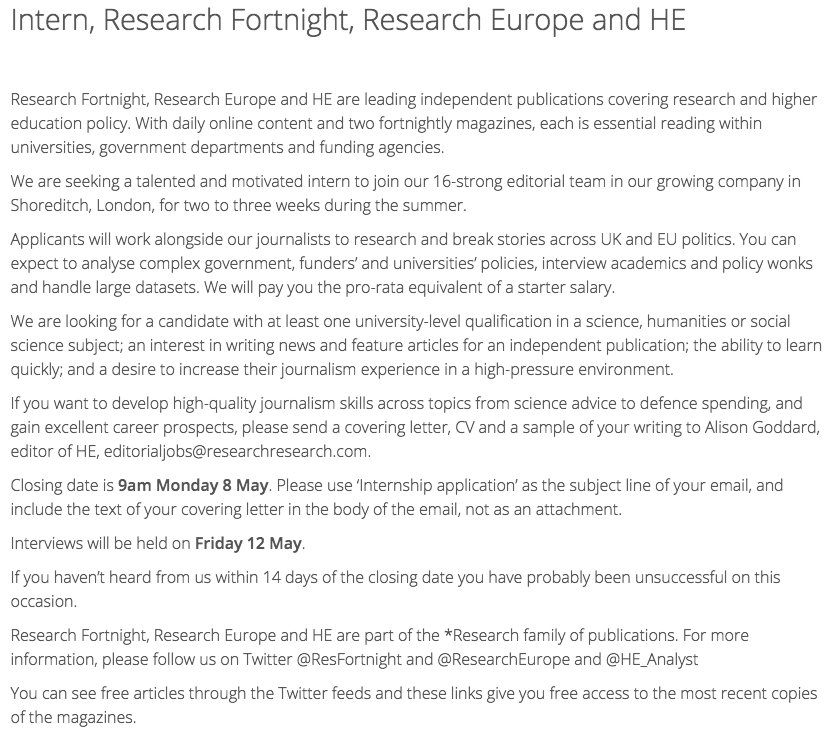 Research Fortnight on Twitter \