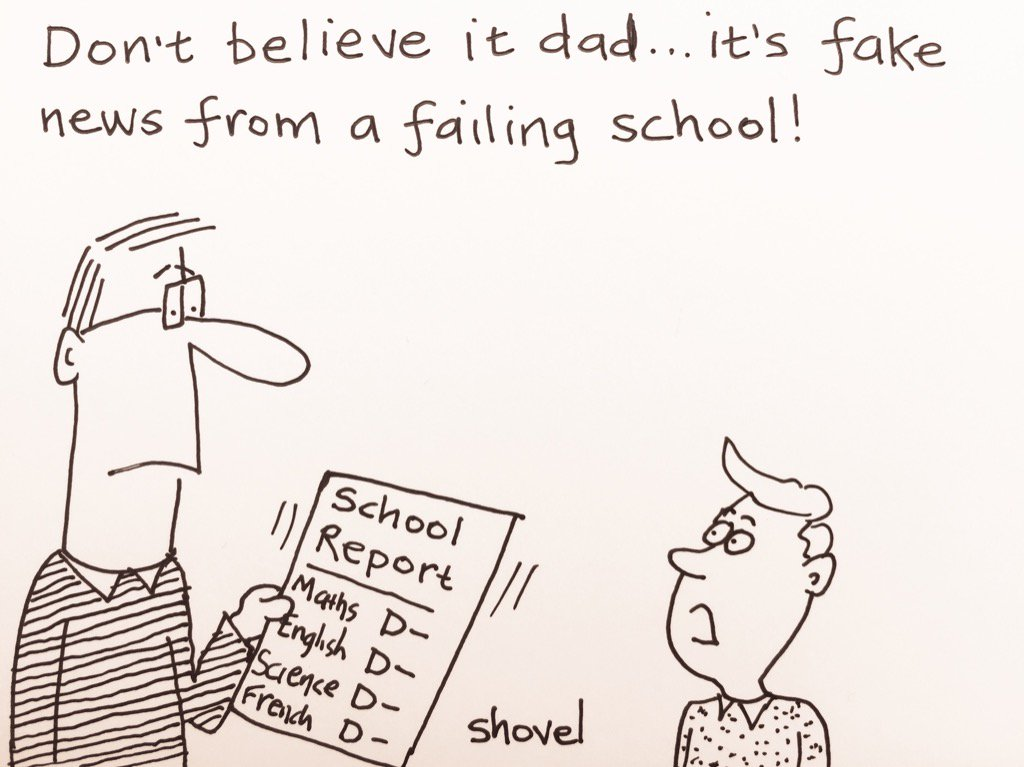 Martin Shovel My cartoon - fake news hits the education system - income statement simple