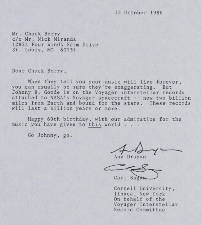 Incredible letter from carl sagan to chuck berry (via @lettersofnote - Admiration Letter