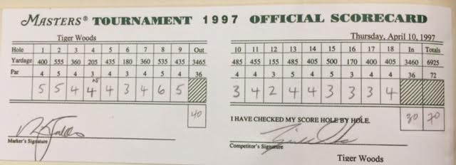 tiger woods scorecard for today at masters