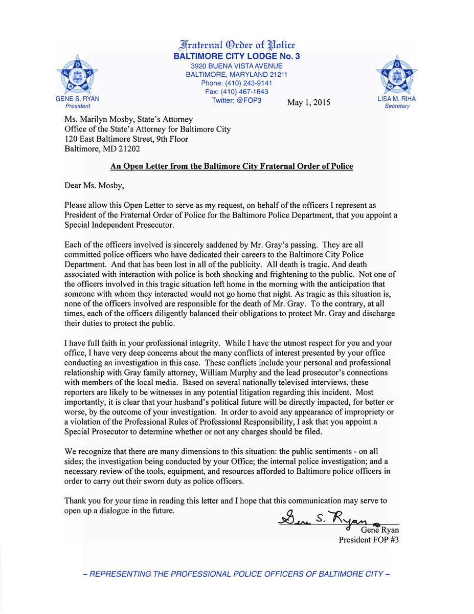 Baltimore City Fop On Twitter Quotan Open Letter To State39s