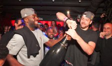 David Lee and Draymond Green Celebrate Their Title With A Massive Champagne Bottle