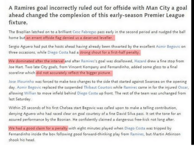 Deluded: The official match report v Man City on Chelseas website is hilariously biased