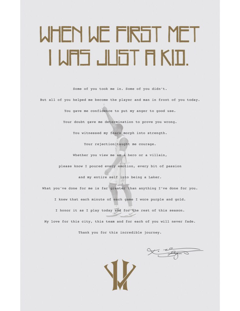 31 kobe retirement letters given out at sundayu0027s lakers game have - retirement letters