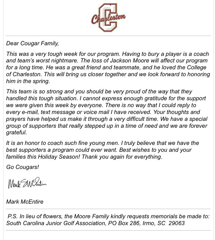 CofC Men\u0027s Golf on Twitter \ - thank you letter to coach