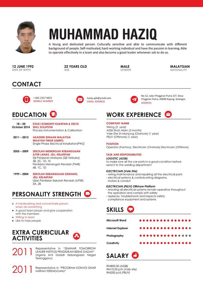 english cv achievement