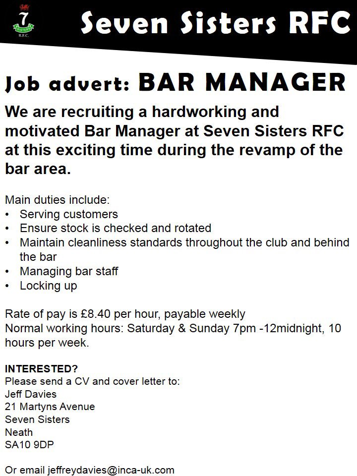 Seven Sisters RFC on Twitter \ - bar manager duties