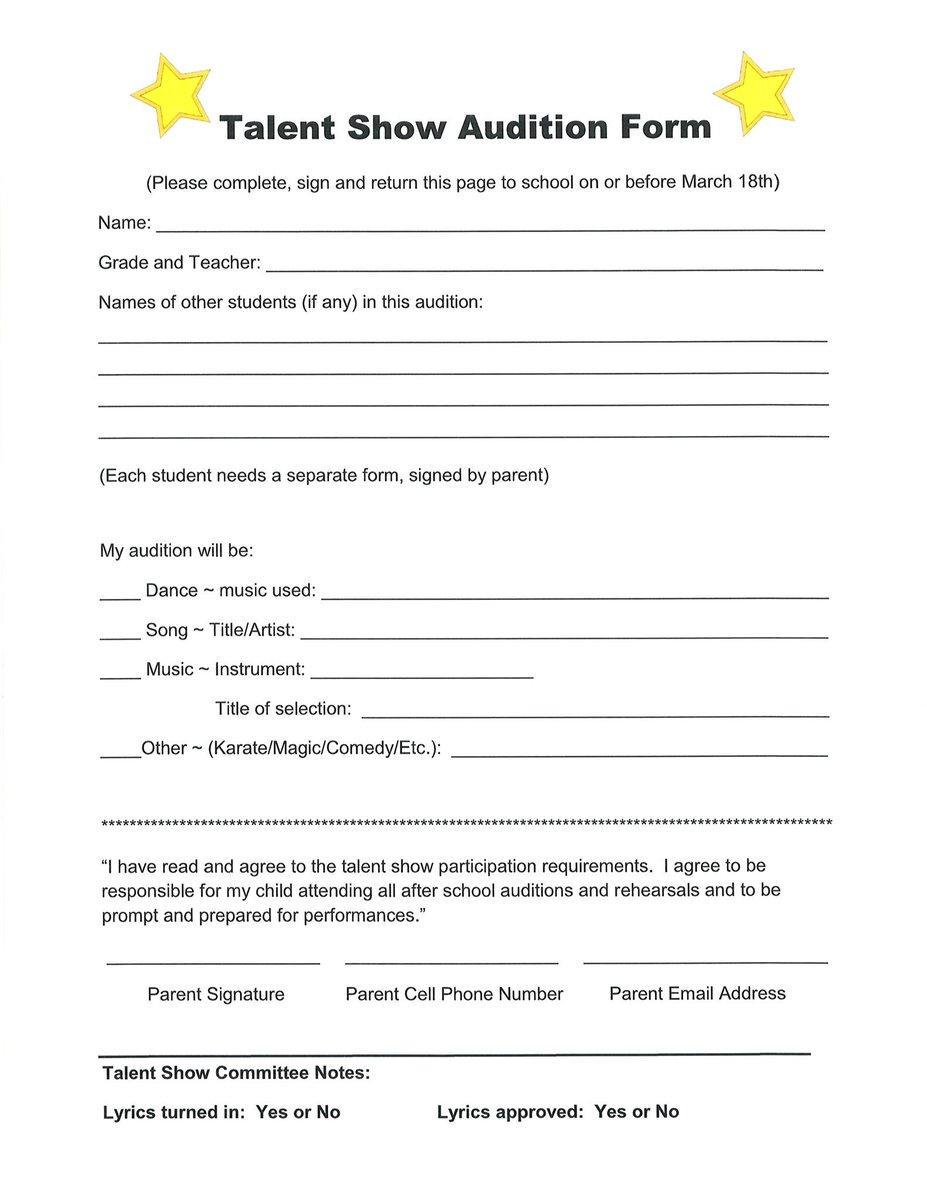 Brent Elementary on Twitter  - audition form