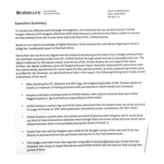 Hrithik-Kangana battle Leaked forensic report suggests \u0027Krrish - forensic report