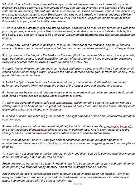 BBC - Capital - Experts critiqued da Vinci\u0027s CV They weren\u0027t impressed