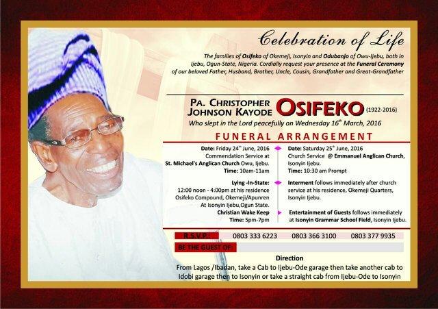 OSHIFEKO OPEOLUWA T on Twitter  - funeral ceremony invitation