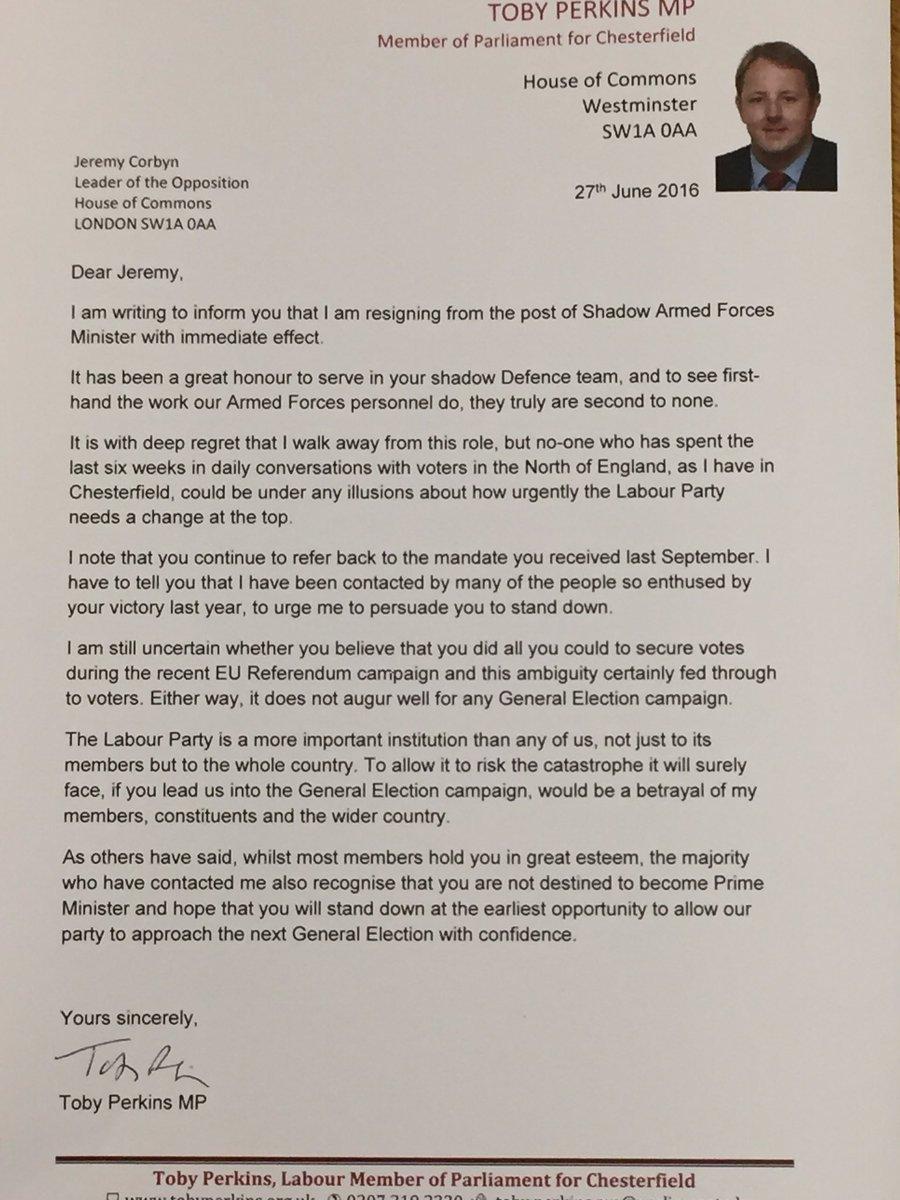 letter for resigning