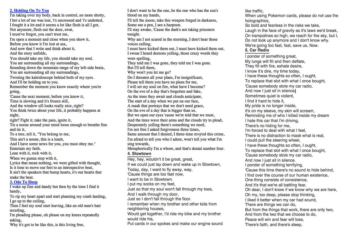 kitchen sink lyrics Joe on Twitter Regional at best lyrics off the official twenty one pilots website circa https t co qVnfBiyinG