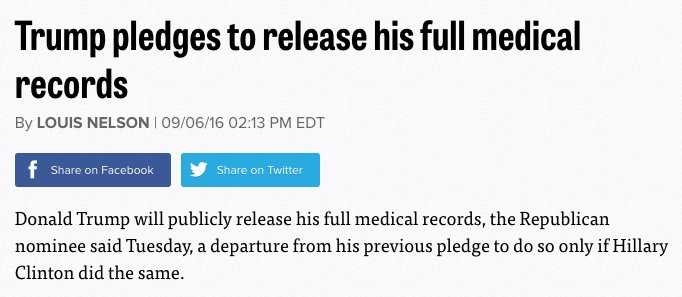 Trump pledged to release full medical records ends up releasing