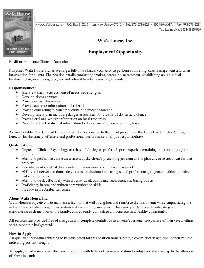 Counselor Urgan Green Spaces - Mental Health Counselor Job Description