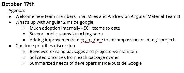 Angular team meeting notes for Oct 17. Added three new team members and planning for 2017.