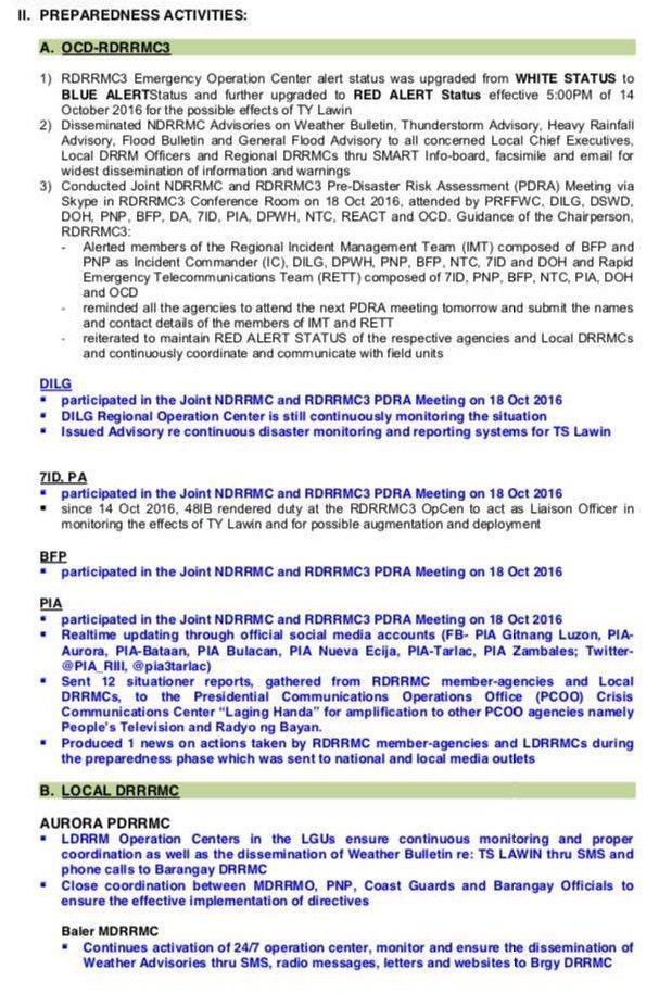 Look situation report no 2 regarding the preparedness of rdrrmc