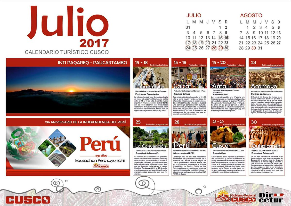 Mes De Julio 2017 Geocusco On Twitter Quotcalendario Turístico Región Cusco