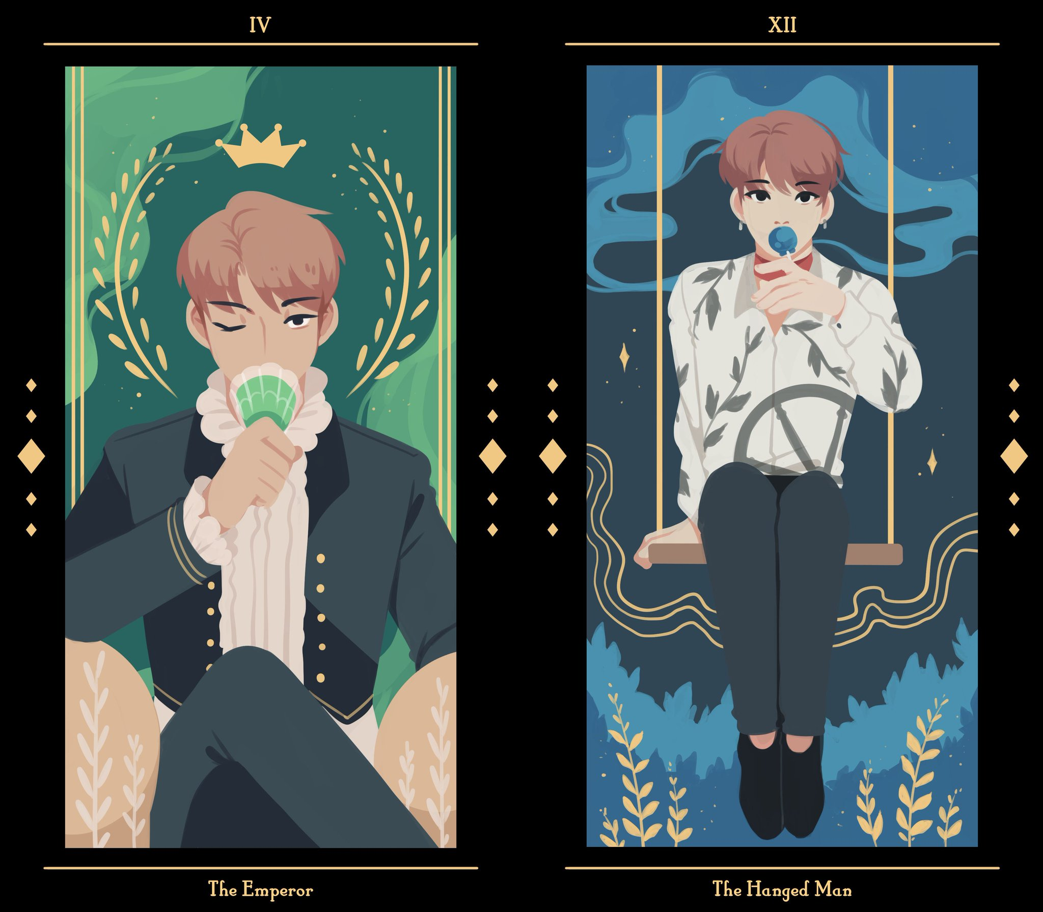 Cute Bts Drawings Wallpaper Ray On Twitter Quot 피 땀 눈물 Tarot Set Do Not Edit Repost