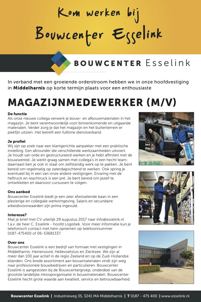 Vacatures Middelharnis Bouwcenter Esselink On Twitter