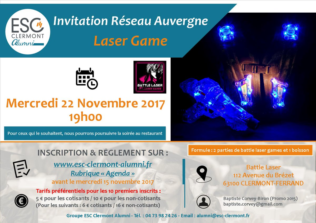 Laser Game Clermont Groupe Esc Clermont Alumni On Twitter