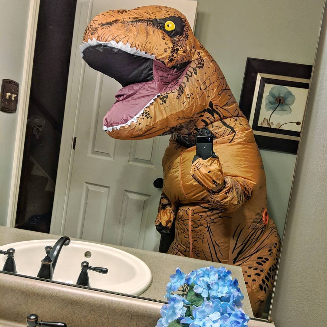 Calmly My Costumeand Timothy Generally Well Intentioned Evildoer On Timothy Generally Well Intentioned Evildoer On Wish Myclass Was Today Instead Tomorrow So I Could Show Up baby T Rex Costume