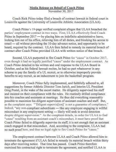 Pitino is suing the University of Louisville Kentucky Sports Radio