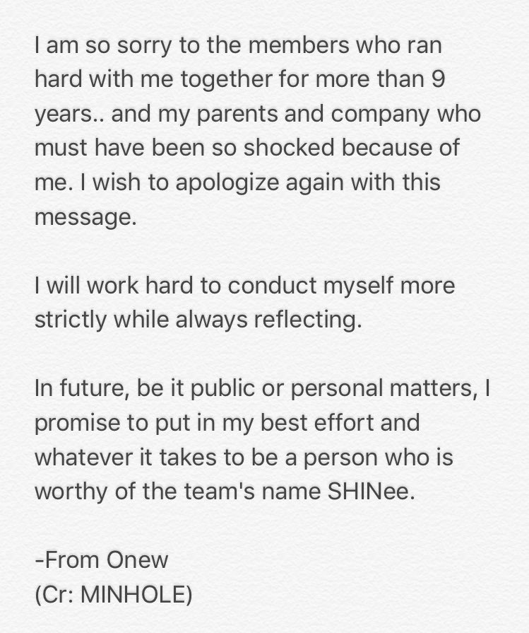 Onew\u0027s Apology Letter - Celebrity News  Gossip - OneHallyu - letter of personal apology